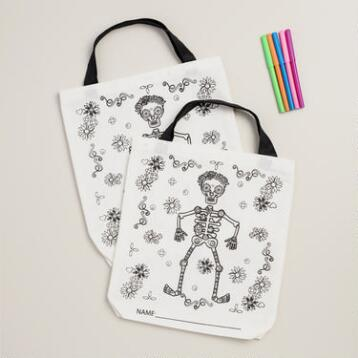 Los Muertos Color-Your-Own Totes, Set of 2