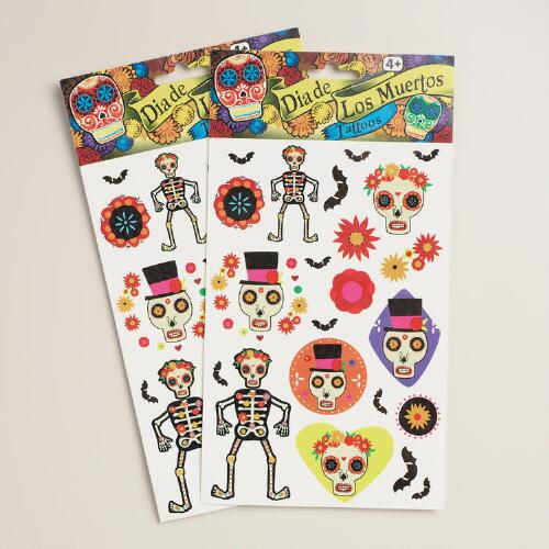 Day of the Dead Temporary Tattoos, Set of 2 Sheets