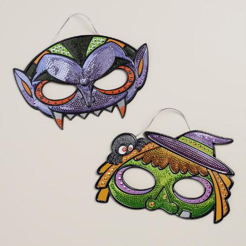 Halloween Sequin Masks, Set of 2