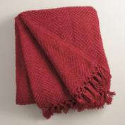 Red Chunky  Chenille Throw
