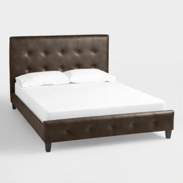 Sable Bi-Cast Leather Greir Upholstered Bed