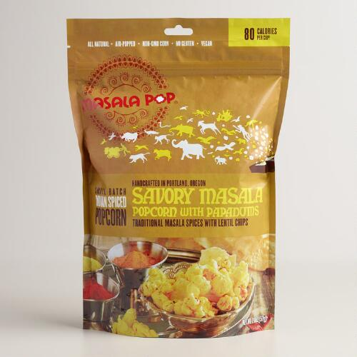 Masala Pop Savory Popcorn with Papadums