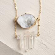 Gold Druzy Pendant Statement Necklace