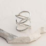 Silver Crisscross and Rhinestone Ring