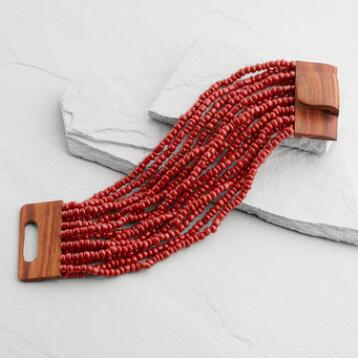 Red Beads and Wood Bracelet
