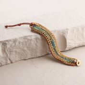 Rose Gold Chain and Blue Friendship Bracelet