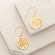 Gold Disc Tree Drop Earrings