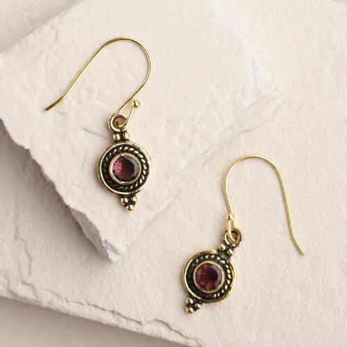 Small Gold Round Drop Earrings
