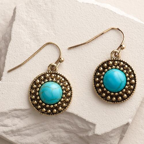 Gold with Turquoise Drop Earrings