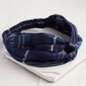Navy Plaid Turban Headband