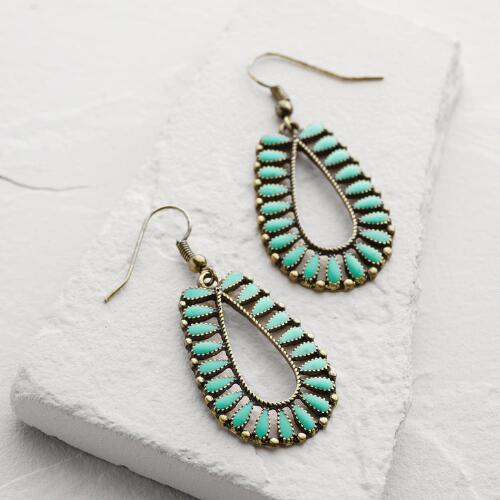 Aqua and Gold Drop Earrings