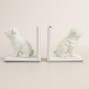 White Bulldog Bookends, 2-Piece