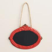 Red Baroque Metal Oval Chalkboard Sign