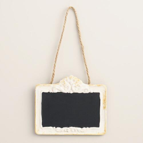 White Baroque Metal Chalkboard Sign