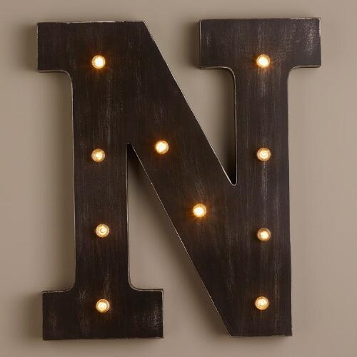 Letter N LED Battery Operated Marquee Light