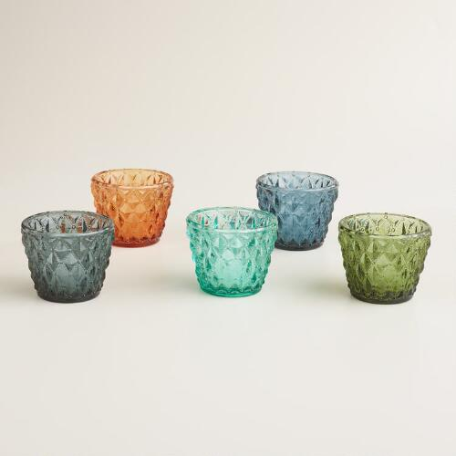 Diamond Glass Josie Tealight Candleholders, Set of 5