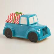 Ceramic Candy Cane Truck Cookie Jar
