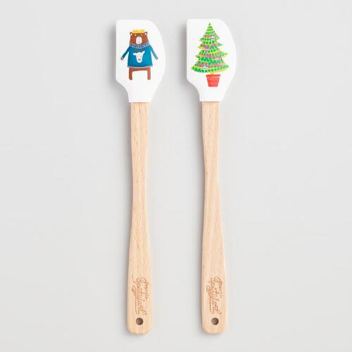 Mini Polka Dot Silicone Spatulas, Set of 2