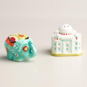 Elephant and Taj Mahal Salt and Pepper Shaker Set
