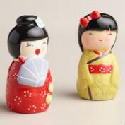 Kokeshi Doll Salt and Pepper Shaker Set