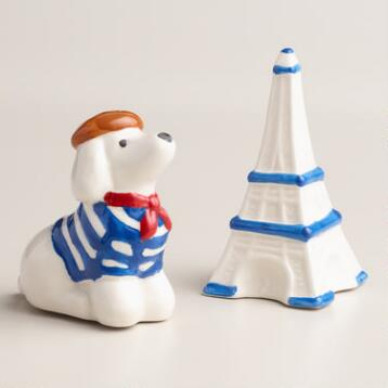 Poodle and Eiffel Tower Salt and Pepper Shaker Set