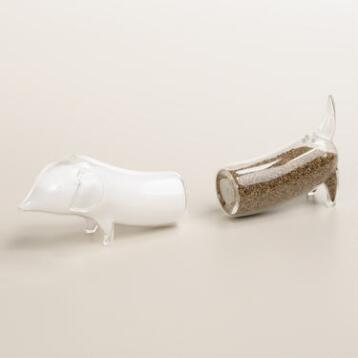Glass Dachshund Salt and Pepper Shaker Set