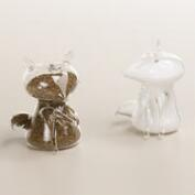 Glass Fox Salt and Pepper Shaker Set