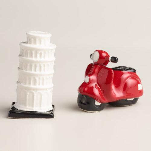 Vespa and Leaning Tower Salt and Pepper Shaker Set