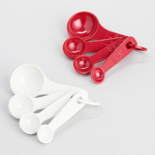 Red and Mint Melamine Measuring Spoons, Set of 2