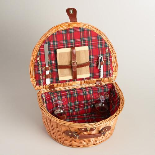 Plaid Willow Picnic Basket with Wine and Cheese Service