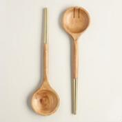 Gold Wood Salad Servers, Set of 2