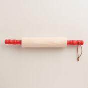 Wood Rolling Pin with Red Handles