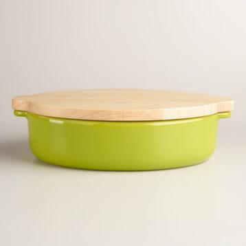 Large Green Baker with Oak Wood Trivet Lid