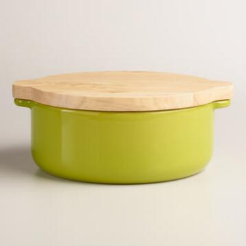 Small Green Baker with Oak Wood Trivet Lid