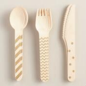 Gold Metallic Stamped Wood Cutlery Set, 18-Piece
