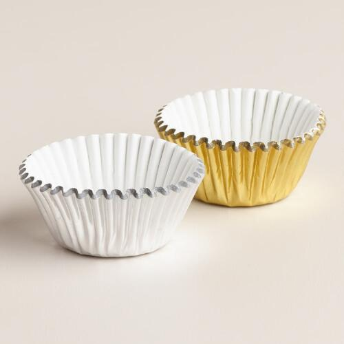 75-Count Mini Gold and Silver Foil Baking Cups, Set of 2