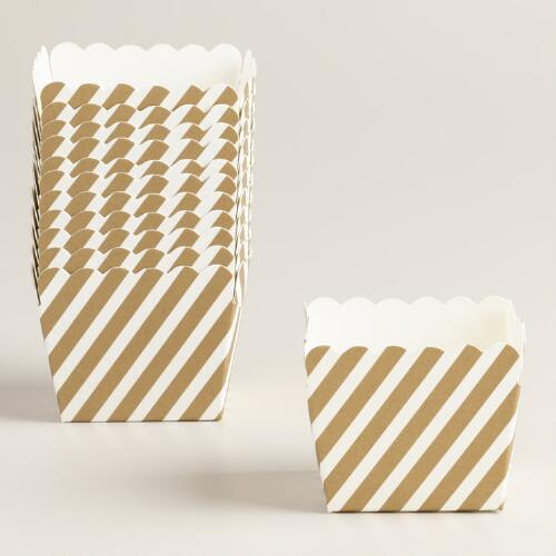 Mini Gold Metallic Stripe Paper Loaf Pans, 12-Pack