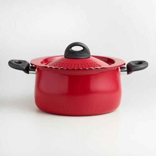 Red Bialetti Pasta Pot with Strainer Lid