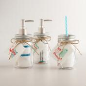 Glass Mason Jars with Cotton Dish Towels, Set of 3