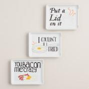 Kitchen Sayings Ceramic Spoon Rests, Set of 3