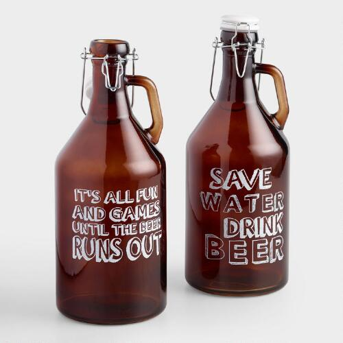 Amber Glass Beer Growlers with Swing Top Lids, Set of 3