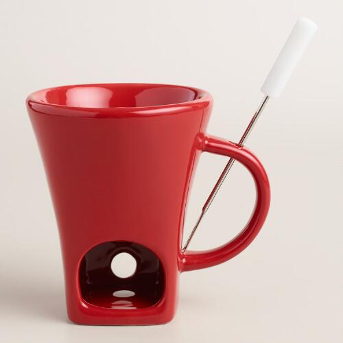 Red Ceramic Fondue Cup with Fork