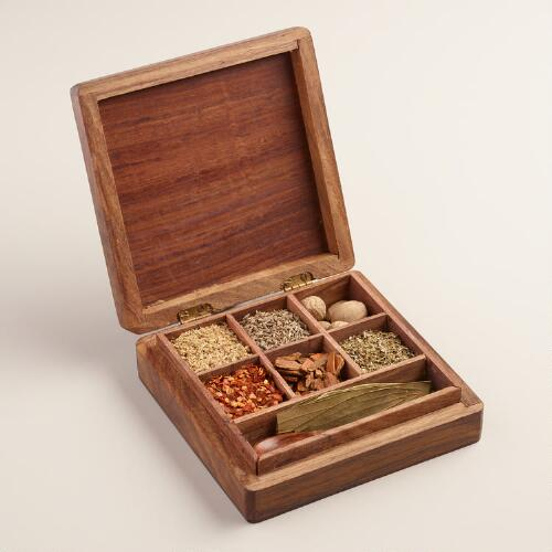 Carved Wood Latin Spice Gift Box Set, 7 Piece