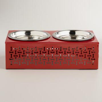 Red Elevated Double Pet Feeder