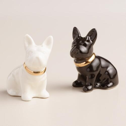 Gold French Bulldog Salt and Pepper Shaker Set