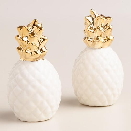 Gold pineapple salt & pepper shaker set