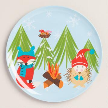 Melamine Woodland Critters Plates, Set of 6