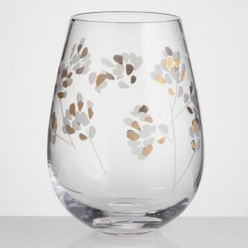 Etched Branches Stemless Wine Glasses, Set of 4