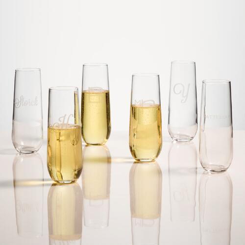 Personalized Stemless Champagne Flutes, Set of 4