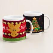 Tree and Moose Mugly Sweater Mugs, Set of 2